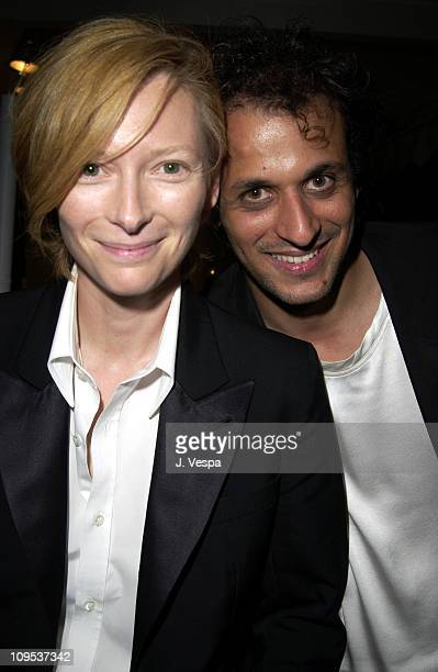 Tilda Swinton and diector Luca Guadagnino during 2002 Venice Film Festival 'Tilda Swinton The Love Factory' Party at 123 Tent at the Casino in Venice...
