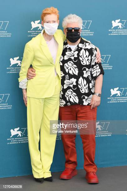 """Tilda Swinton and Director Pedro Almodóvar attend the photocall of the movie """"The Human Voice"""" at the 77th Venice Film Festival on September 03, 2020..."""