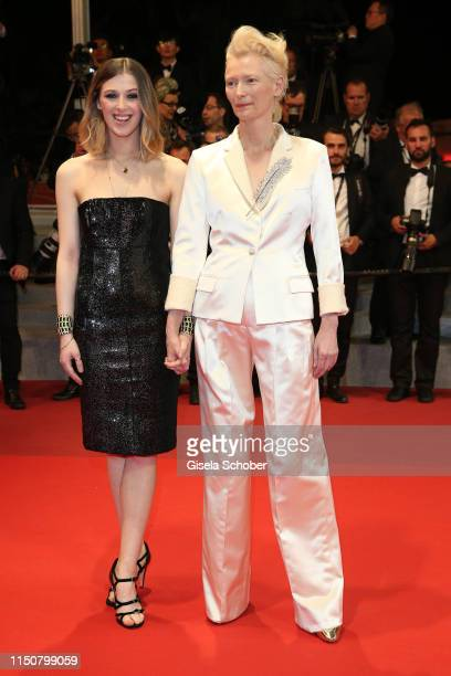 Tilda Swinton and her daughter Honor Swinton Byrne attend the screening of Parasite during the 72nd annual Cannes Film Festival on May 21 2019 in...