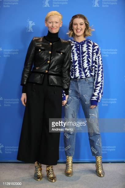 Tilda Swinton and her daughter Honor SwintonByrne pose at the The Souvenir photocall during the 69th Berlinale International Film Festival Berlin at...