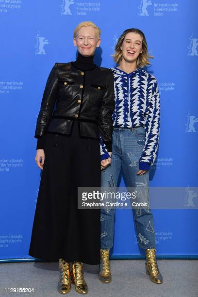 """Tilda Swinton and her daughter Honor Swinton-Byrne pose at the """"The Souvenir"""" photocall during the 69th Berlinale International Film Festival Berlin..."""