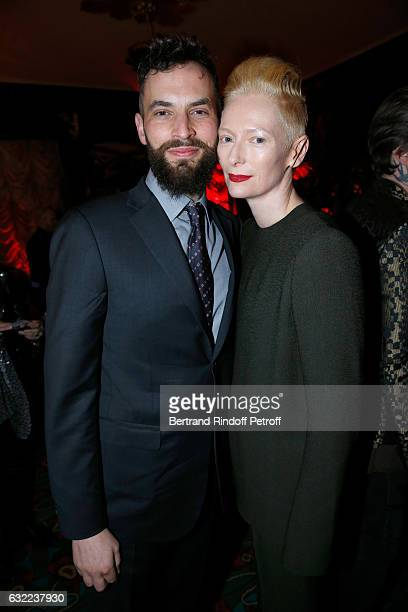 Tilda Swinton and her husband Sandro Kopp attend the Berluti Dinner as part of Paris Fashion Week Menswear F/W 20172018 Held at Maxim's on January 20...