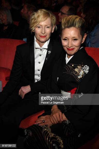Tilda Swinton and Mari Natsuki attend the Opening Ceremony 'Isle of Dogs' premiere during the 68th Berlinale International Film Festival Berlin at...