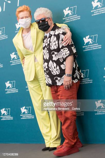 """Tilda Swinton and Pedro Almodovar attend the photocall of the movie """"The Human Voice"""" at the 77th Venice Film Festival on September 03, 2020 in..."""