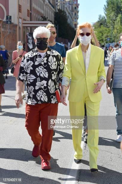Tilda Swinton And Perdo Almodovar are seen arriving at the 77th Venice Film Festival on September 03, 2020 in Venice, Italy.