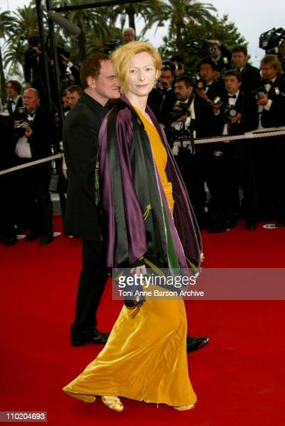 Tilda Swinton and Quentin Tarantino during 2004 Cannes Film Festival De Lovely Premiere And Closing Ceremony at Palais Des Festival in Cannes France