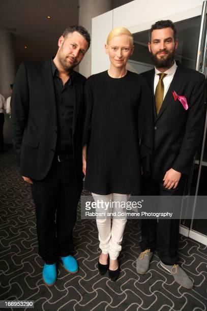 Tilda Swinton and Sandro Kopp attends the Stefano Tonchi Celebrates W Magazine's Modern Beauty Issue Honoring Tilda Swinton at the Perry Street...