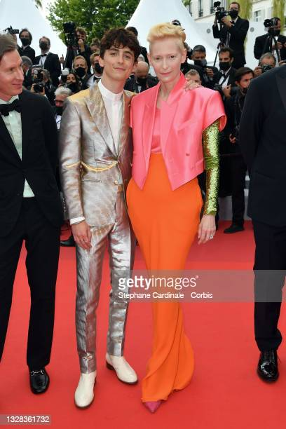 """Tilda Swinton and Timothée Chalamet attend the """"The French Dispatch"""" screening during the 74th annual Cannes Film Festival on July 12, 2021 in..."""