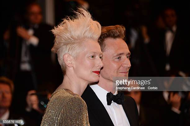 Tilda Swinton and Tom Hiddleston attend the 'Only Lovers Left Alive' premiere during the 66th Cannes International Film Festival