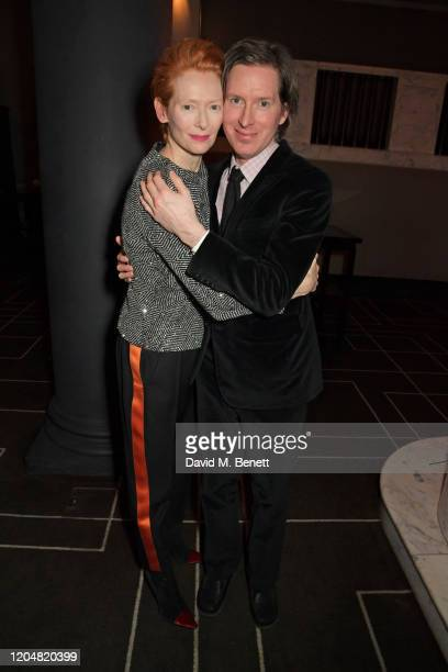 Tilda Swinton and Wes Anderson attend the BFI Chairman's dinner awarding Tilda Swinton with a BFI Fellowship at Rosewood London on March 2 2020 in...