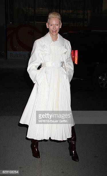 Tilda Swinton arrives at A Bigger Splash screening at the Museum of Modern Art on April 21 2016 in New York City