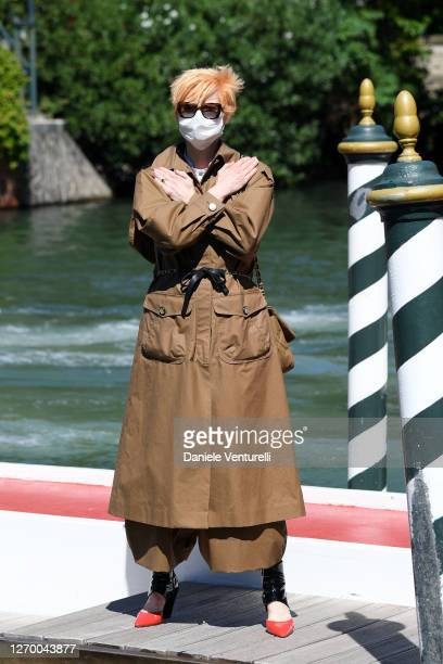 Tilda Swinton arrives at the Excelsior at the 77th Venice Film Festival on September 01, 2020 in Venice, Italy.