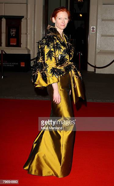 Tilda Swinton arrives at the Orange British Academy Film Awards 2008 held at the Royal Opera House on February 10, 2008 in London, England.