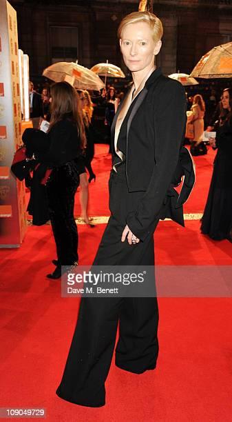 Tilda Swinton arrives at the Orange British Academy Film Awards 2011 at The Royal Opera House on February 13, 2011 in London, England.