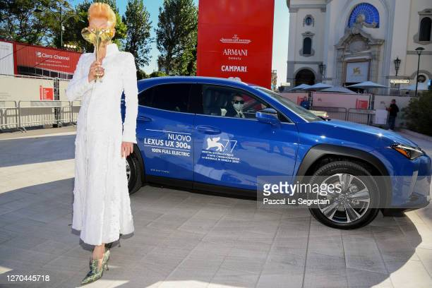 "Tilda Swinton arrives on the red carpet ahead of the movie ""The Human Voice"" and ""Quo Vadis, Aida?"" at the 77th Venice Film Festival at on September..."