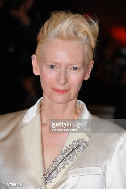 """Tilda Swinton arrives the screening of """"Parasite"""" during the 72nd annual Cannes Film Festival on May 21, 2019 in Cannes, France."""