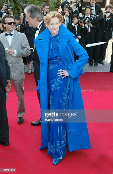 Tilda Swinton arriving at the closing night ceremonies of the 55th Cannes Film Festival in Cannes, France. May 26 2002. Photo: Evan...