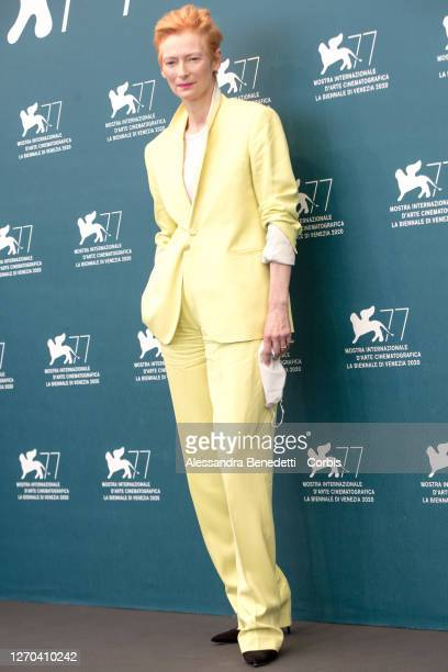 """Tilda Swinton attend the photocall of the movie """"The Human Voice"""" at the 77th Venice Film Festival on September 03, 2020 in Venice, Italy."""