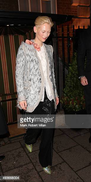 Tilda Swinton attending AnOther Magazine x Dior Party at Annabels club on October 21 2015 in London England