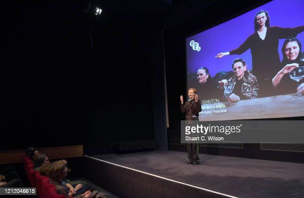 Tilda Swinton attends a screening of Derek Jarman's The Garden at BFI Southbank to to raise awareness of the campaign to save Prospect Cottage on...
