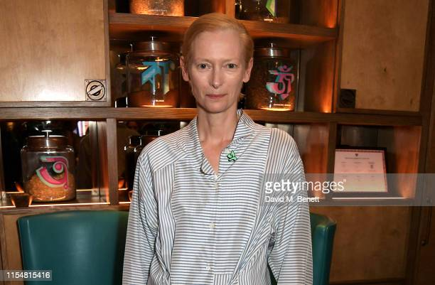 Tilda Swinton attends an intimate 'In Conversation' discussing her guest editorship of the Aperture Magazine 'Orlando' Issue at Teatulia on July 9,...