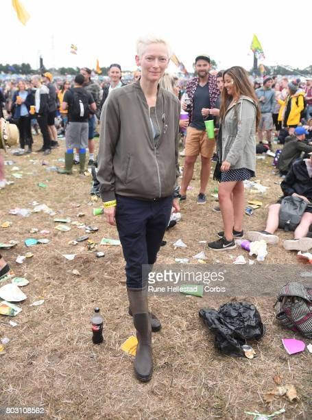 Tilda Swinton attends day 3 of the Glastonbury Festival 2017 at Worthy Farm Pilton on June 24 2017 in Glastonbury England