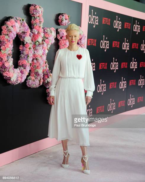 Tilda Swinton attends Netflix hosts the New York Premiere of Okja at AMC Lincoln Square Theater on June 8 2017 in New York City