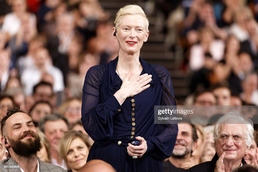 Tilda Swinton attends opening ceremony of 9th Film Festival Lumiere In Lyon on October 14, 2017 in Lyon, France.