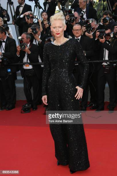 Tilda Swinton attends the 70th anniversary event during the 70th annual Cannes Film Festival at Palais des Festivals on May 23 2017 in Cannes France