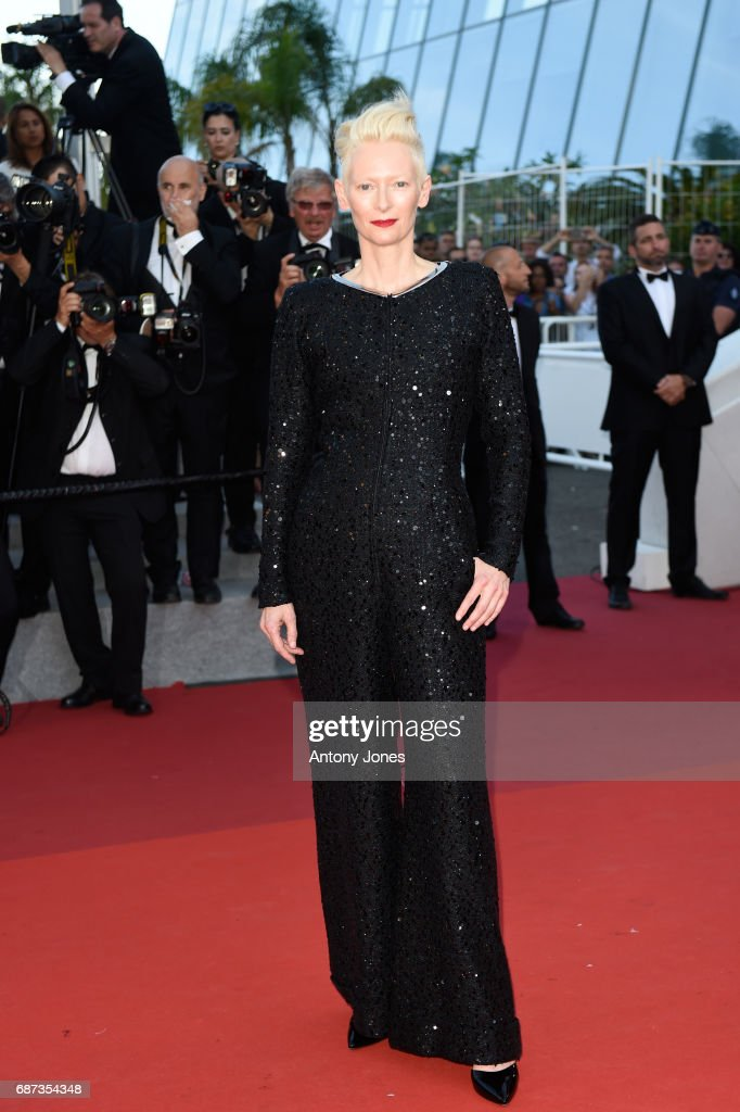Tilda Swinton attends the 70th Anniversary of the 70th annual Cannes Film Festival at Palais des Festivals on May 23, 2017 in Cannes, France.