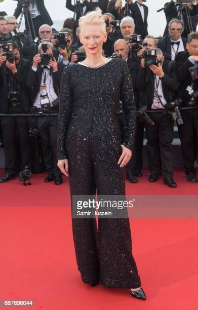 Tilda Swinton attends the 70th Anniversary screening during the 70th annual Cannes Film Festival at Palais des Festivals on May 23 2017 in Cannes...