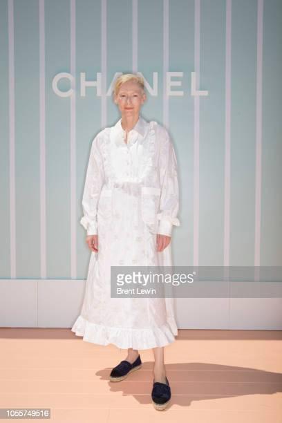 Tilda Swinton attends the Chanel Cruise 2018/19 Replica Show at Sermsuk Warehouse Pepsi Pier on October 31 2018 in Bangkok Thailand