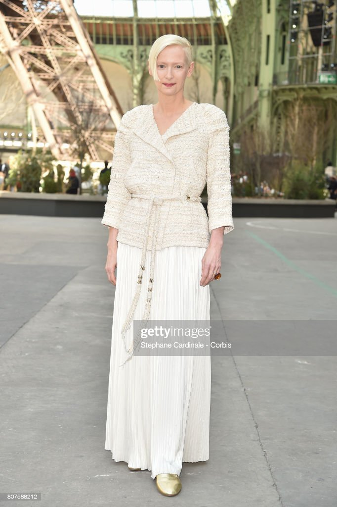 Tilda Swinton attends the Chanel Haute Couture Fall/Winter 2017-2018 show as part of Haute Couture Paris Fashion Week on July 4, 2017 in Paris, France.