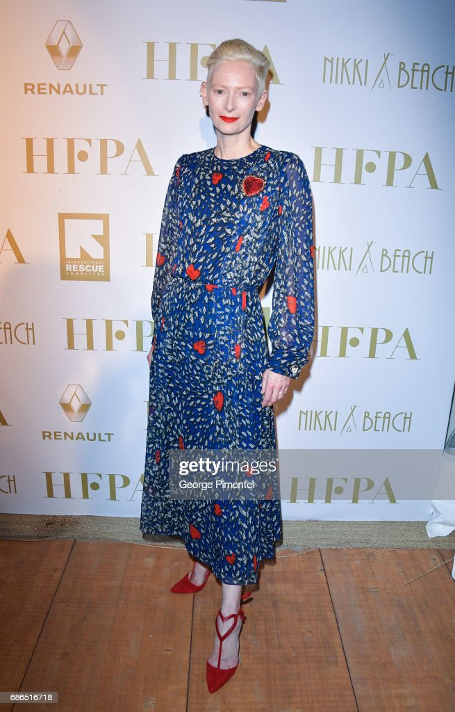 Tilda Swinton attends the Hollywood Foreign Press Association's 2017 Cannes Film Festival Event in honour of the International Rescue Committee during the 70th Annual Cannes Film Festival on May 21, 2017 in Cannes, France.