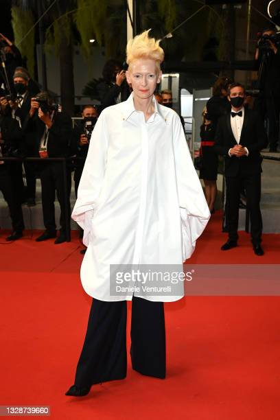 """Tilda Swinton attends the """"Les Olympiades """" screening during the 74th annual Cannes Film Festival on July 14, 2021 in Cannes, France."""