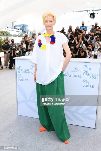 """Tilda Swinton attends the """"Memoria"""" photocall during the 74th annual Cannes Film Festival on July 16, 2021 in Cannes, France."""