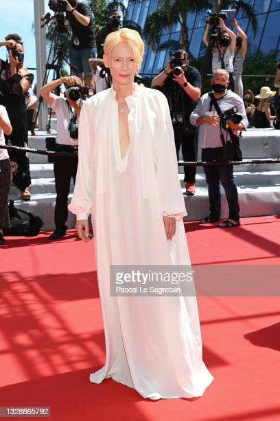 """Tilda Swinton attends the """"Memoria"""" screening during the 74th annual Cannes Film Festival on July 15, 2021 in Cannes, France."""