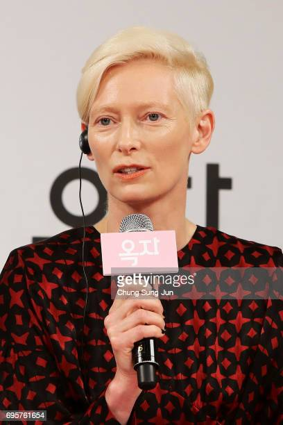 Tilda Swinton attends the official press conference after Korea Red Carpet Premiere of Netflix release 'Okja' at the Four Seasons on June 14 2017 in...