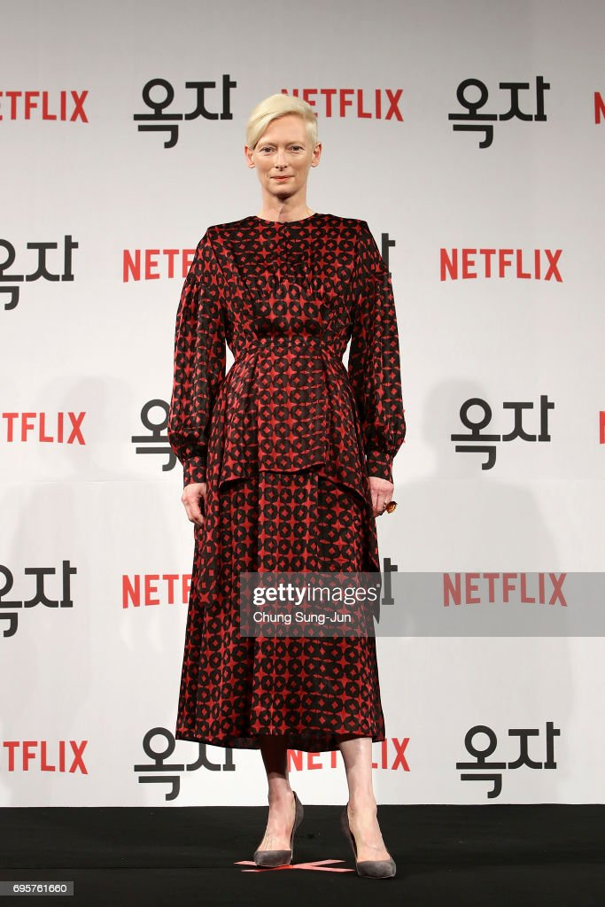Tilda Swinton attends the official press conference after Korea Red Carpet Premiere of Netflix release 'Okja' at the Four Seasons on June 14, 2017 in Seoul, South Korea.