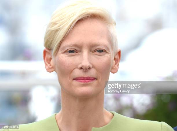 Tilda Swinton attends the 'Okja' Photocall during the 70th annual Cannes Film Festival at Palais des Festivals on May 19 2017 in Cannes France