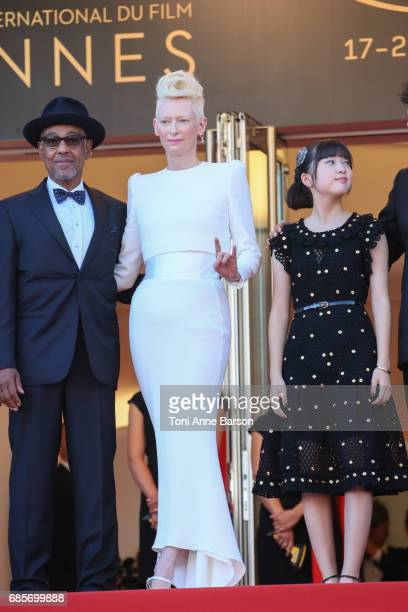 Tilda Swinton attends the 'Okja' screening during the 70th annual Cannes Film Festival at Palais des Festivals on May 19 2017 in Cannes France
