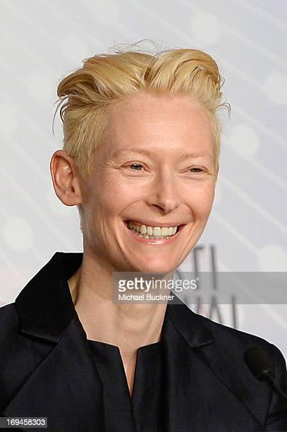 Tilda Swinton attends the 'Only Lovers Left Alive' press conference during The 66th Annual Cannes Film Festival at Palais des Festival on May 25 2013...