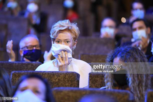 Tilda Swinton attends the Opening Ceremony during the 77th Venice Film Festival at on September 02, 2020 in Venice, Italy.