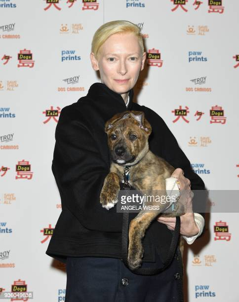Tilda Swinton attends the paw sprints special screening of 'Isle of Dogs' at IFC CENTER on March 21 2018 in New York City / AFP PHOTO / ANGELA WEISS