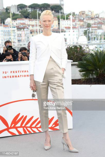 """Tilda Swinton attends the photocall for """"The Dead Don't Die"""" during the 72nd annual Cannes Film Festival on May 15, 2019 in Cannes, France."""