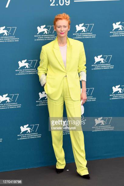 """Tilda Swinton attends the photocall of the movie """"The Human Voice"""" at the 77th Venice Film Festival on September 03, 2020 in Venice, Italy."""