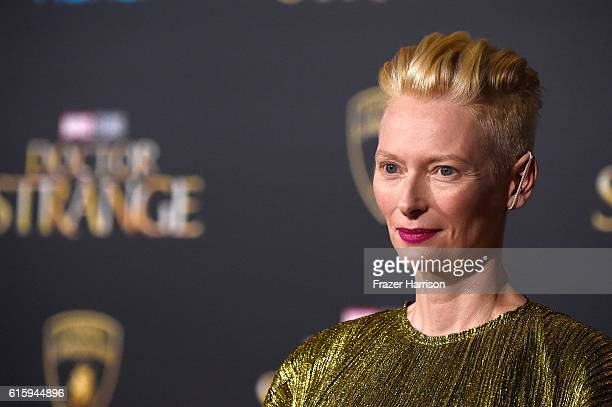 Tilda Swinton attends the premiere of Disney and Marvel Studios' 'Doctor Strange' at the El Capitan Theatre on October 20 2016 in Hollywood California