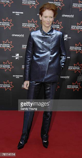 Tilda Swinton attends the premiere of 'Hallam Foe' for the opening night of the 61st Edinburgh International Film Festival at the Cineworld...