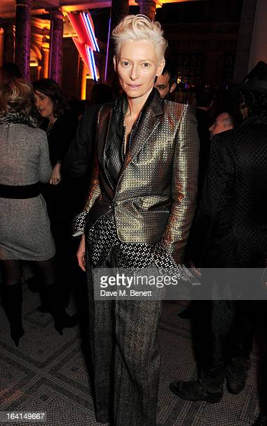 Tilda Swinton attends the private view for the 'David Bowie Is' exhibition in partnership with Gucci and Sennheiser at the Victoria and Albert Museum...