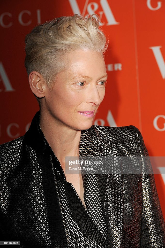 Tilda Swinton attends the private view for the 'David Bowie Is' exhibition in partnership with Gucci and Sennheiser at the Victoria and Albert Museum on March 20, 2013 in London, England.